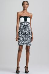 Sue Wong Strapless Damask Pattern Cocktail Dress - Lyst