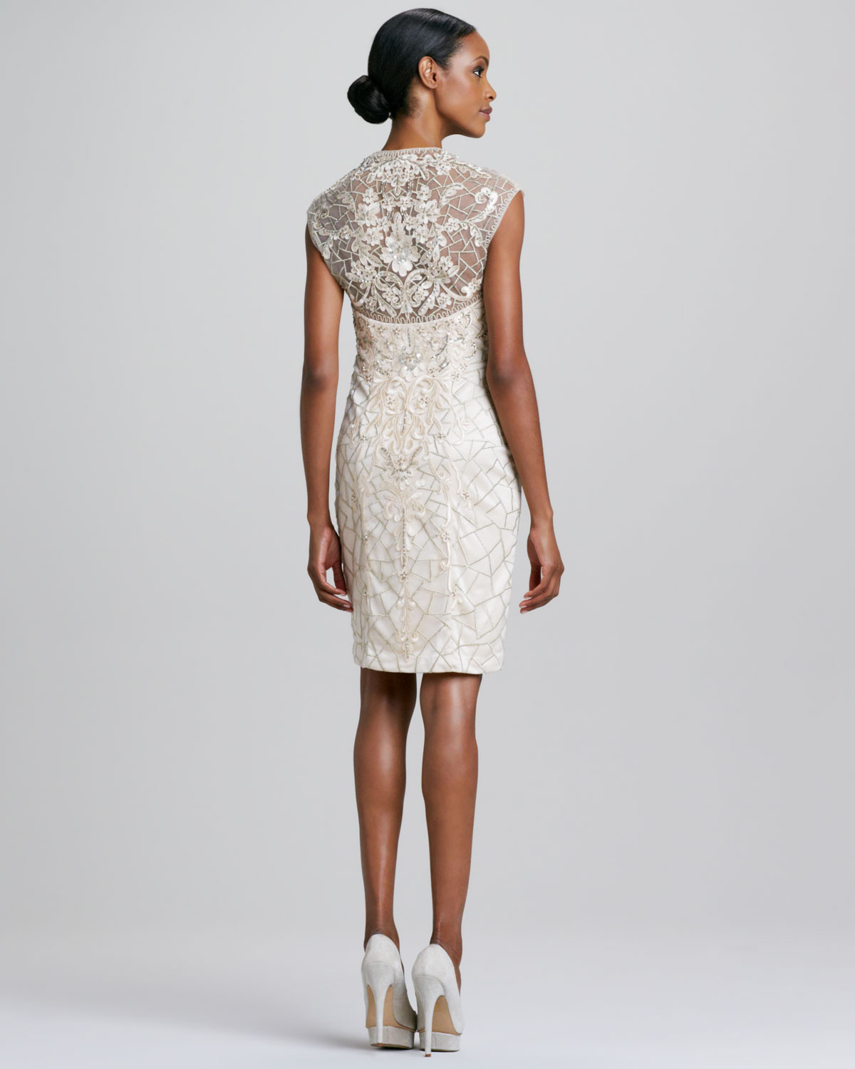 Sue wong Capsleeve Beaded Cocktail Dress in Natural | Lyst