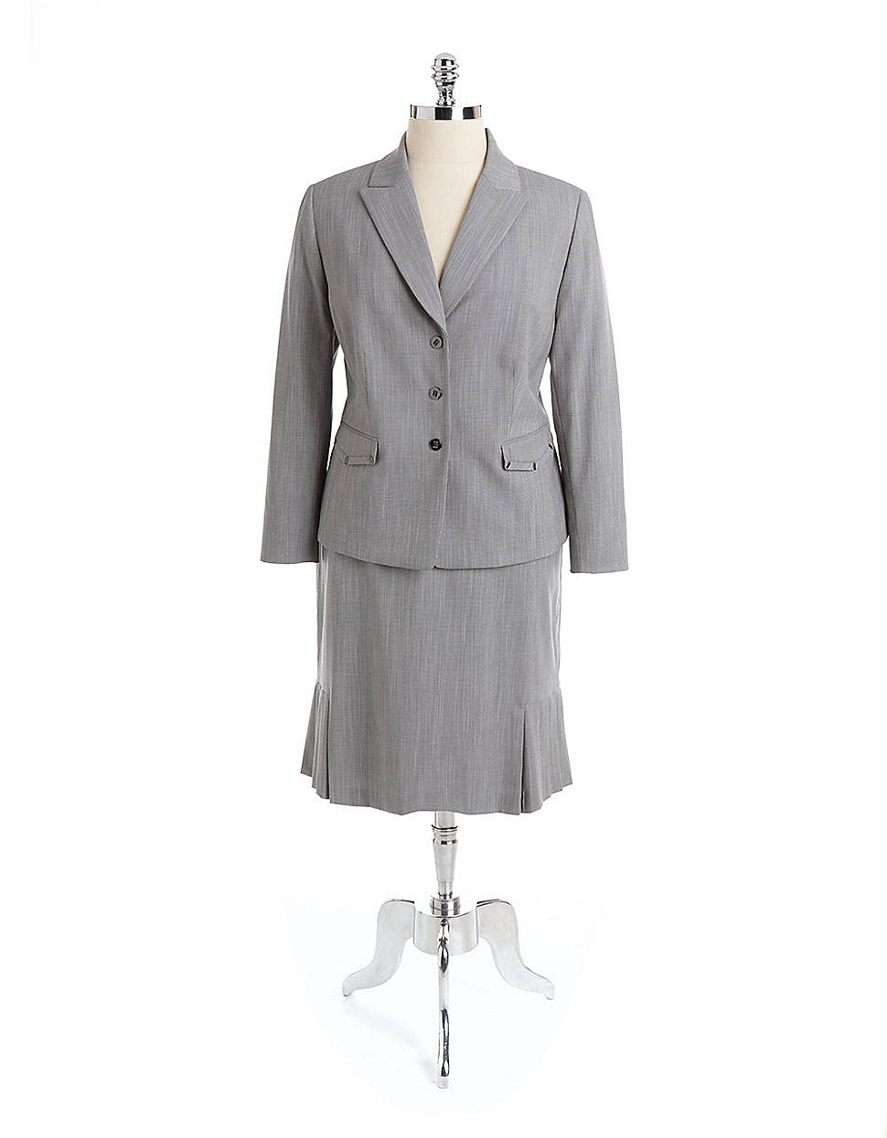 tahari metallic button twopiece pleated skirt suit in