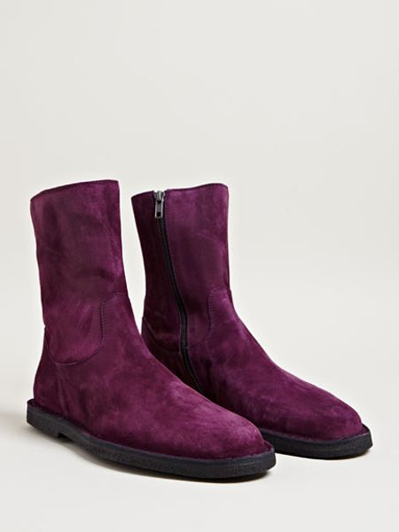 Ann Demeulemeester Suede Leather Boots In Purple For Men