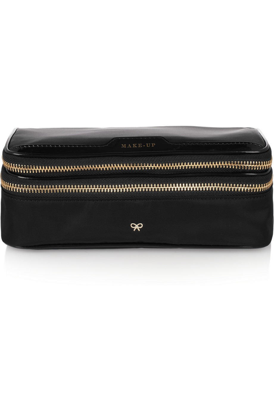 Make Up Leather-trimmed Shell Cosmetics Case - Black Anya Hindmarch zDP8IGFDt