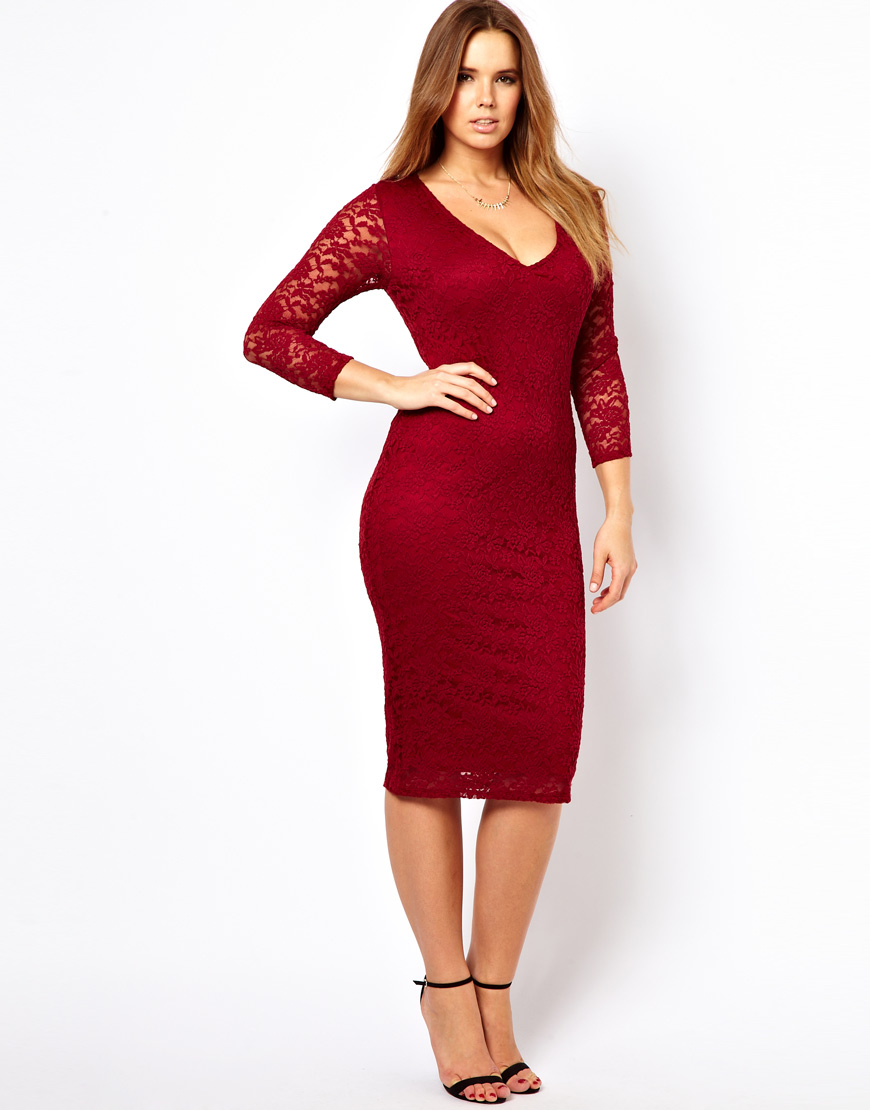 Asos Midi Dress In Lace In Red Lyst