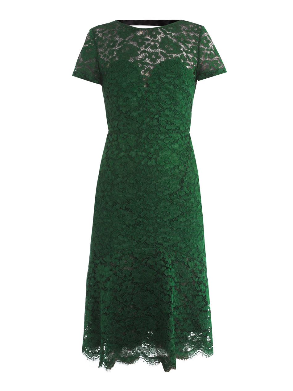 Burberry prorsum Lace Openback Dress in Green (emerald)   Lyst