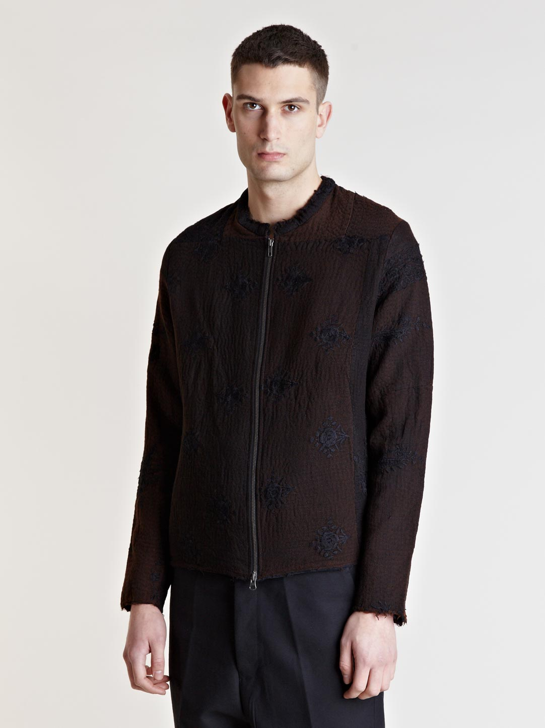 By walid vintage kashmiri embroidered jacket in black for