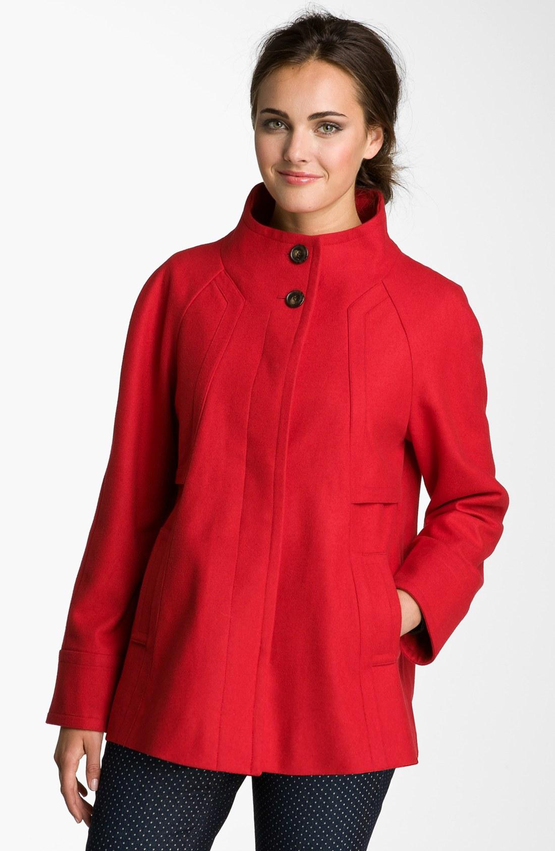 Ellen Tracy Stand Collar Aline Coat Petite Nordstrom Exclusive in Red ...