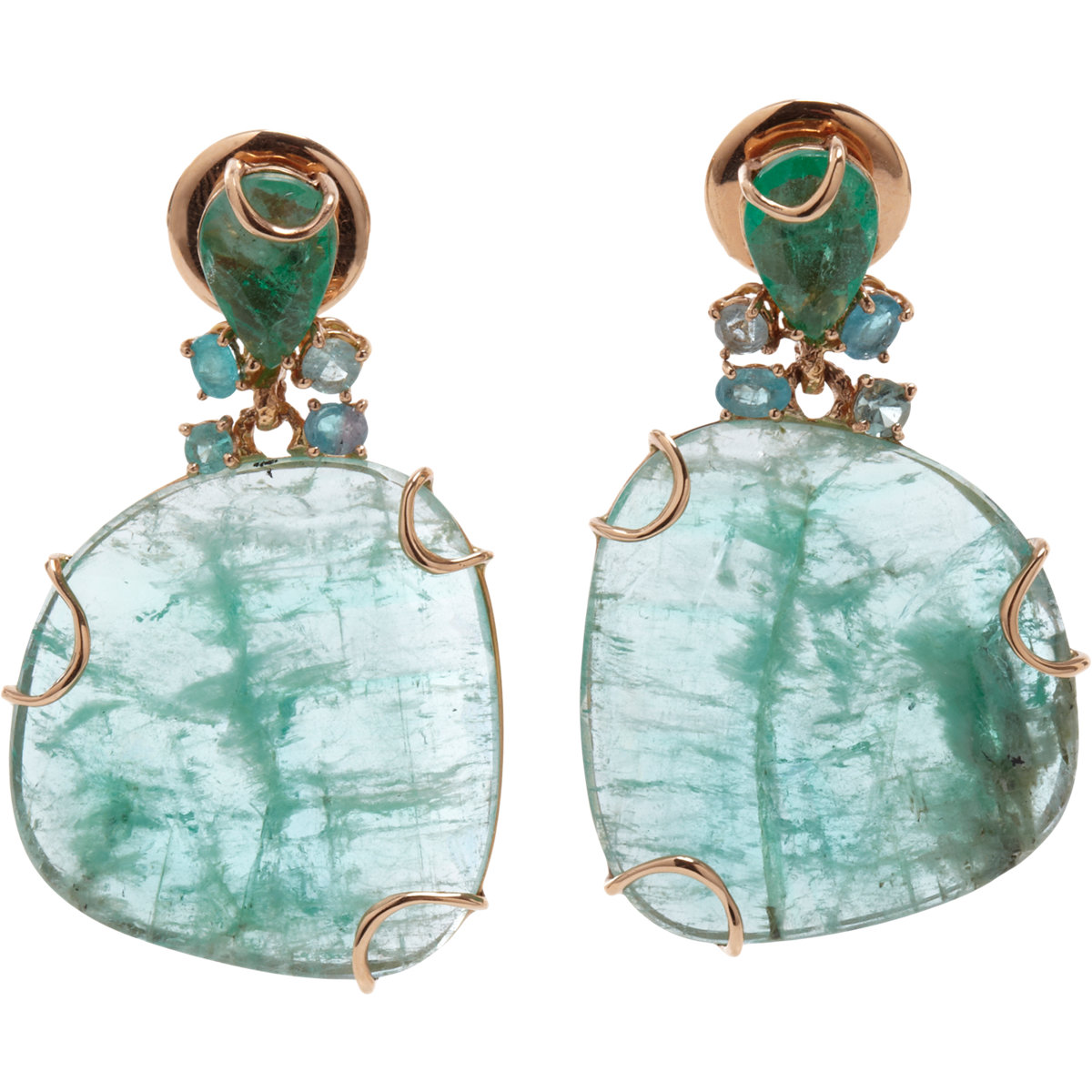 Federica Rettore Emerald Paraiba Tourmaline Earrings In
