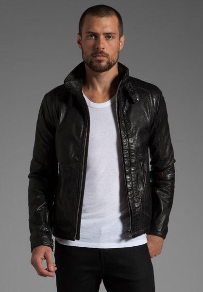 star Raw Denim Jacket Asahi Leather Sleeve in Blue for Men | Lyst