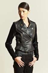 Givenchy Contrast Panel Leather Jacket - Lyst