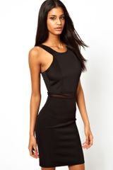 John Zack Midi Dress with Mesh Insert and Cut Away Neck - Lyst