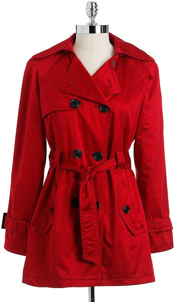 Jones New York Petite Hooded Doublebreasted Trench Coat In