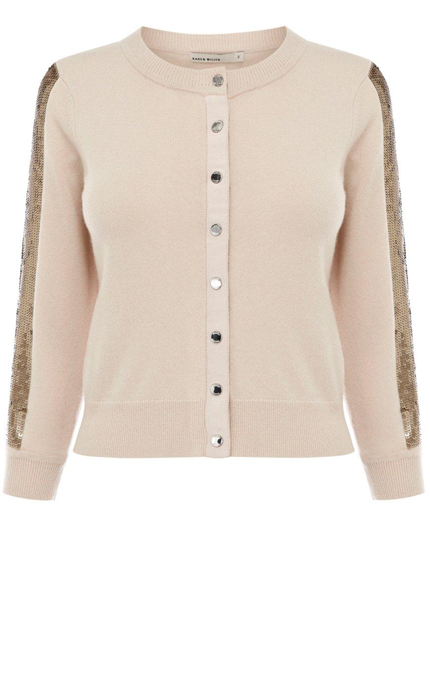 Karen millen Sequin 3 4 Sleeve Cardigan in Natural   Lyst