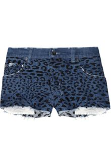 Ksubi Alberceque Leopard-Embroidered Cut-Off Denim Shorts - Lyst