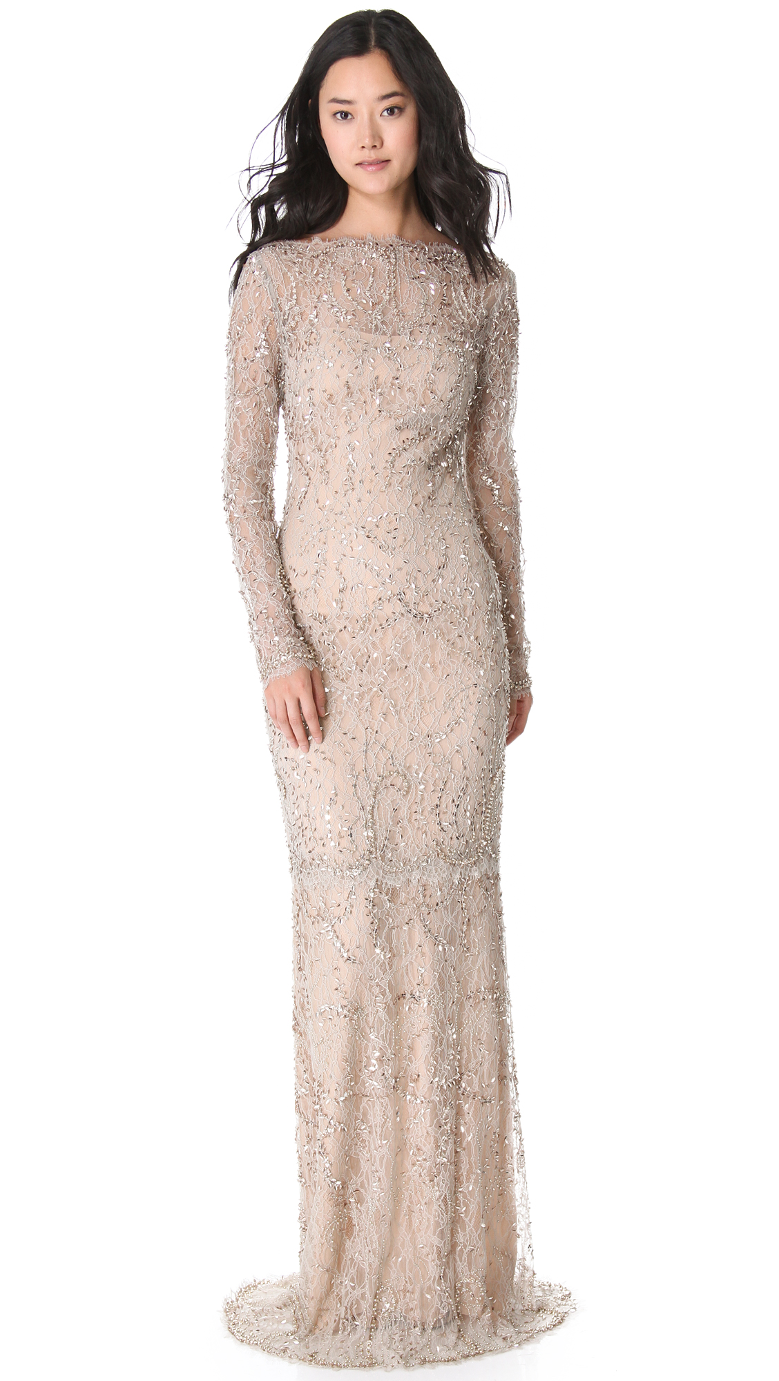 Lyst - Marchesa Beaded Lace Gown in Natural