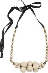 Marni Canvascovered Wooden Bead Necklace - Lyst