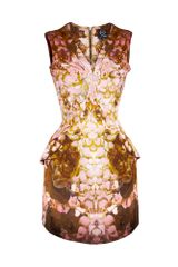 McQ by Alexander McQueen Printed Rose Petal Bust Pleat Dress