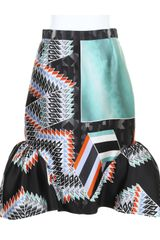 Peter Pilotto Kaleidoscopic Silk Snug Skirt with Mermaideffect Bottom