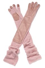 Rochas Pastel Pink Knit Wool and Leather Gloves