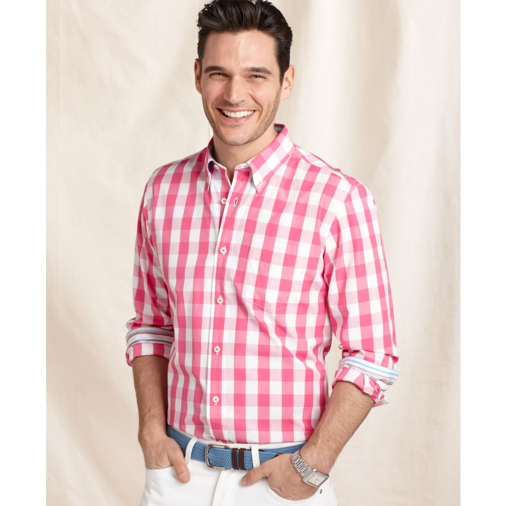 Tommy Hilfiger Long Sleeve Gingham Long Shirt In Pink For