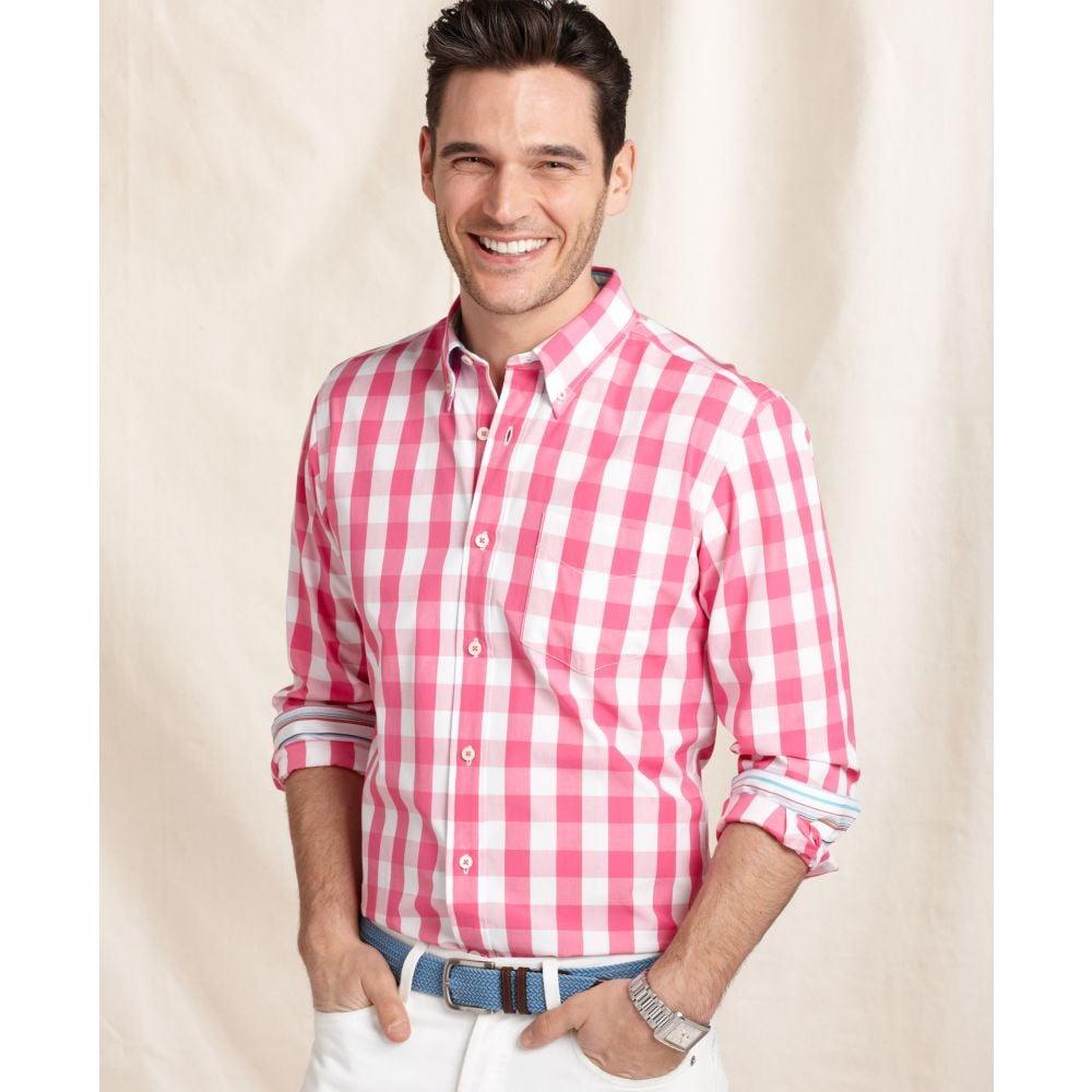 Tommy hilfiger long sleeve gingham long shirt in pink for for Tommy hilfiger gingham dress shirt