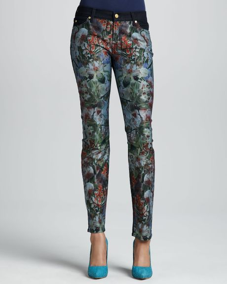 for all mankind tropicalprint slim cigarette jeans in floral dnm. Black Bedroom Furniture Sets. Home Design Ideas