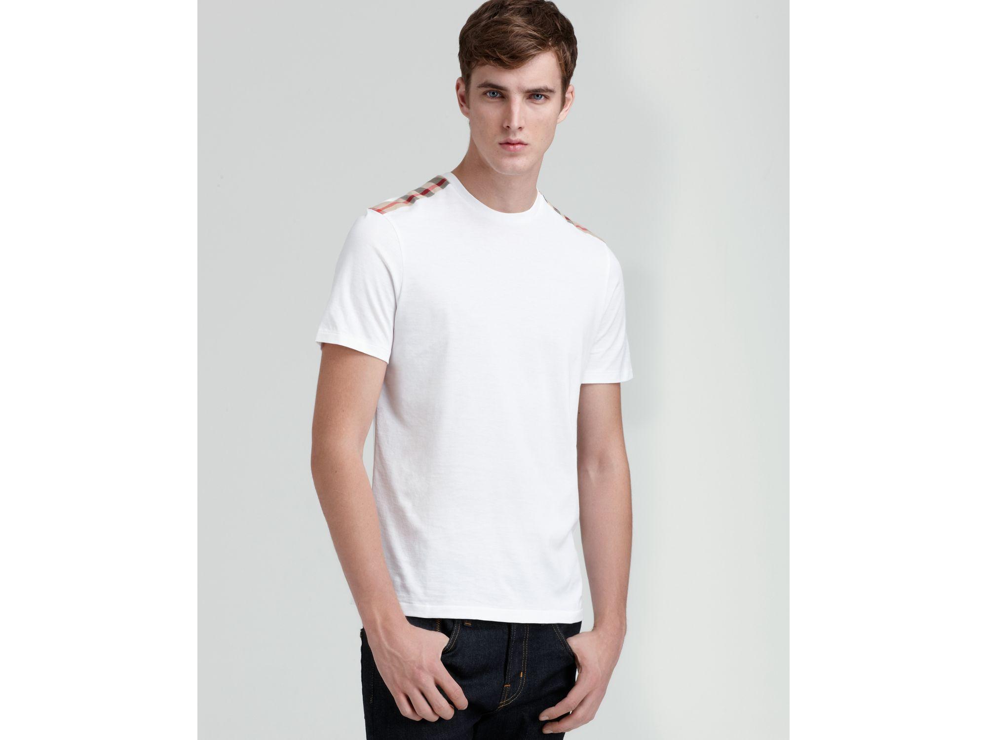 fc5ce055e4e1 Lyst - Burberry Check Shoulder Tee in White for Men