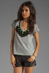 Milly Chine Cotton Jersey in Skyler Beaded Tee in Greylemon - Lyst
