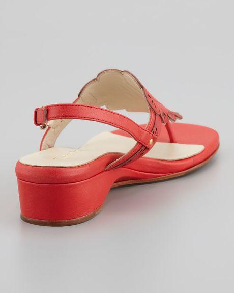 Taryn Rose Kingston Eyelet Cutout Low Wedge Thong Sandal