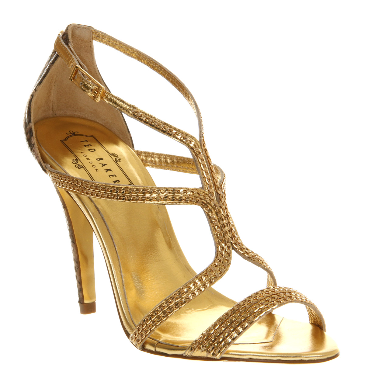 ted baker tilbey high heel sandal in gold snake lyst. Black Bedroom Furniture Sets. Home Design Ideas