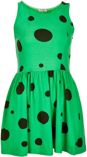 Topshop Spot Skater Dress By Love - Lyst