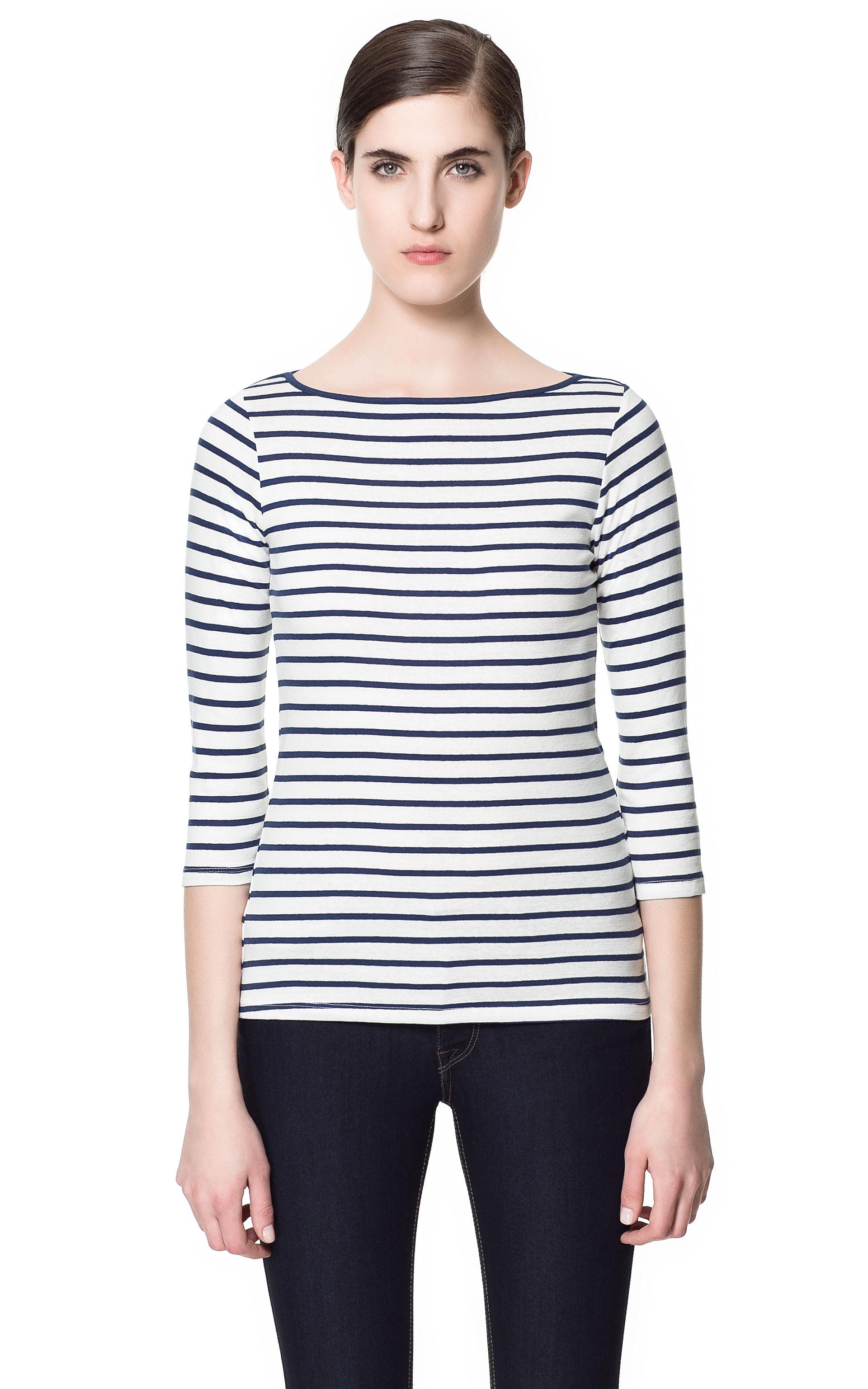 Zara Organic Cotton T-Shirt in White (white/navy)   Lyst