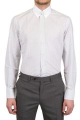 Canali Tab Collar Striped Poplin Slim Fit Shirt - Lyst