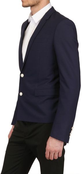 Dior Homme Two Silver Buttons Wool Toile Jacket In Blue