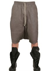 Rick Owens Waxed Cotton Poplin Low Crotch Shorts - Lyst
