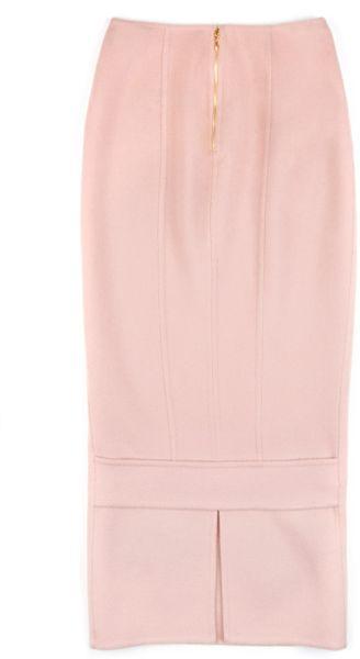 rochas wool angora pencil skirt in pink pastel pink lyst
