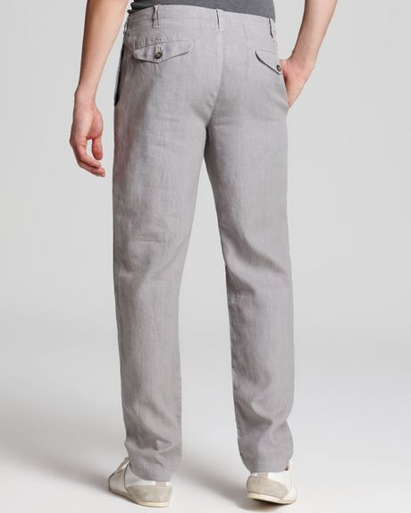 Vince Linen Drawstring Pants In Gray For Men Silver Fin