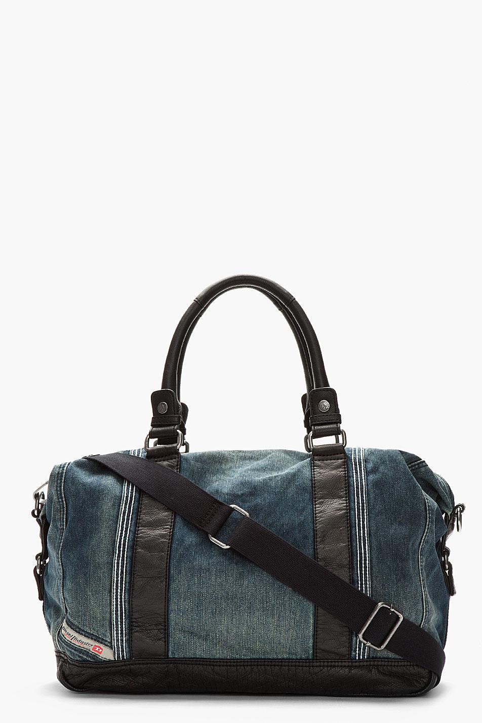 diesel blue denim leather trimmed brave trip duffle bag in