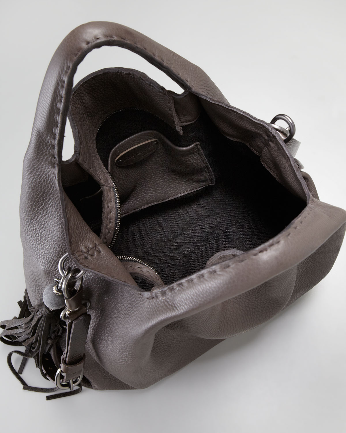 6268b02a0a Henry Beguelin Cervo Leather Hobo Bag in Gray - Lyst