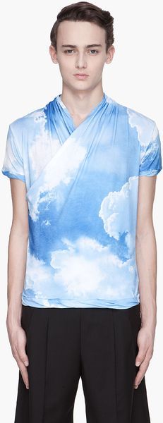 John Galliano Pale Blue Cloud Print Wrap T-shirt - Lyst