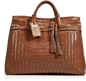 Ralph Lauren Collection Woven Herringbone Leather Shopper - Lyst