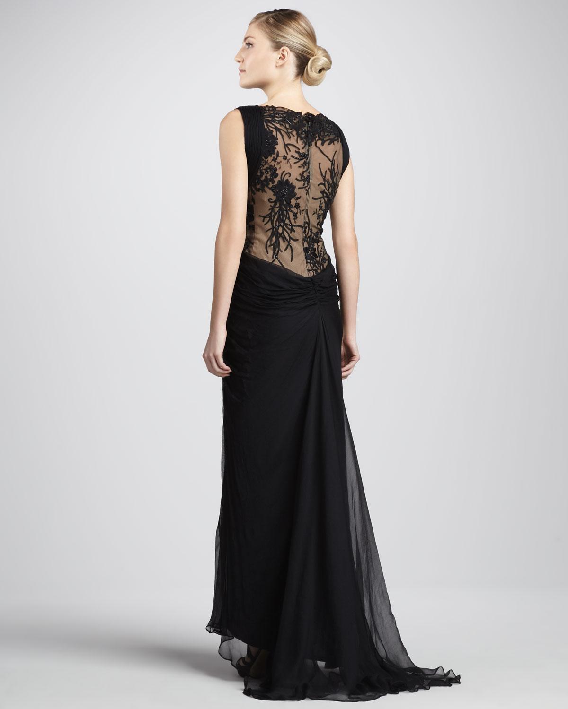 tadashi shoji black sleeveless lace and sequined illusion back gown product 2 6959334 121988843