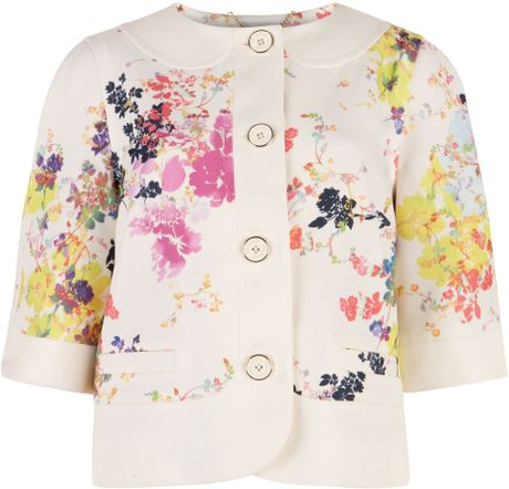Ted Baker Zohe Summer Bloom Print Jacket In Floral Cream