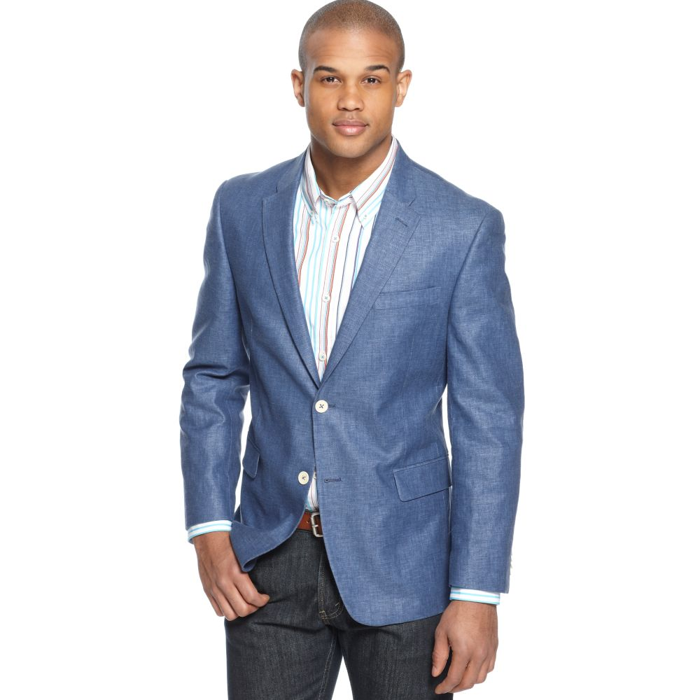 Tommy hilfiger Solid Linen Blend Sportcoat in Blue for Men | Lyst