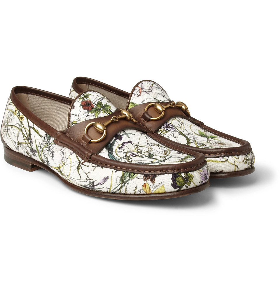 gucci floralprint canvas and leather loafers in floral for men