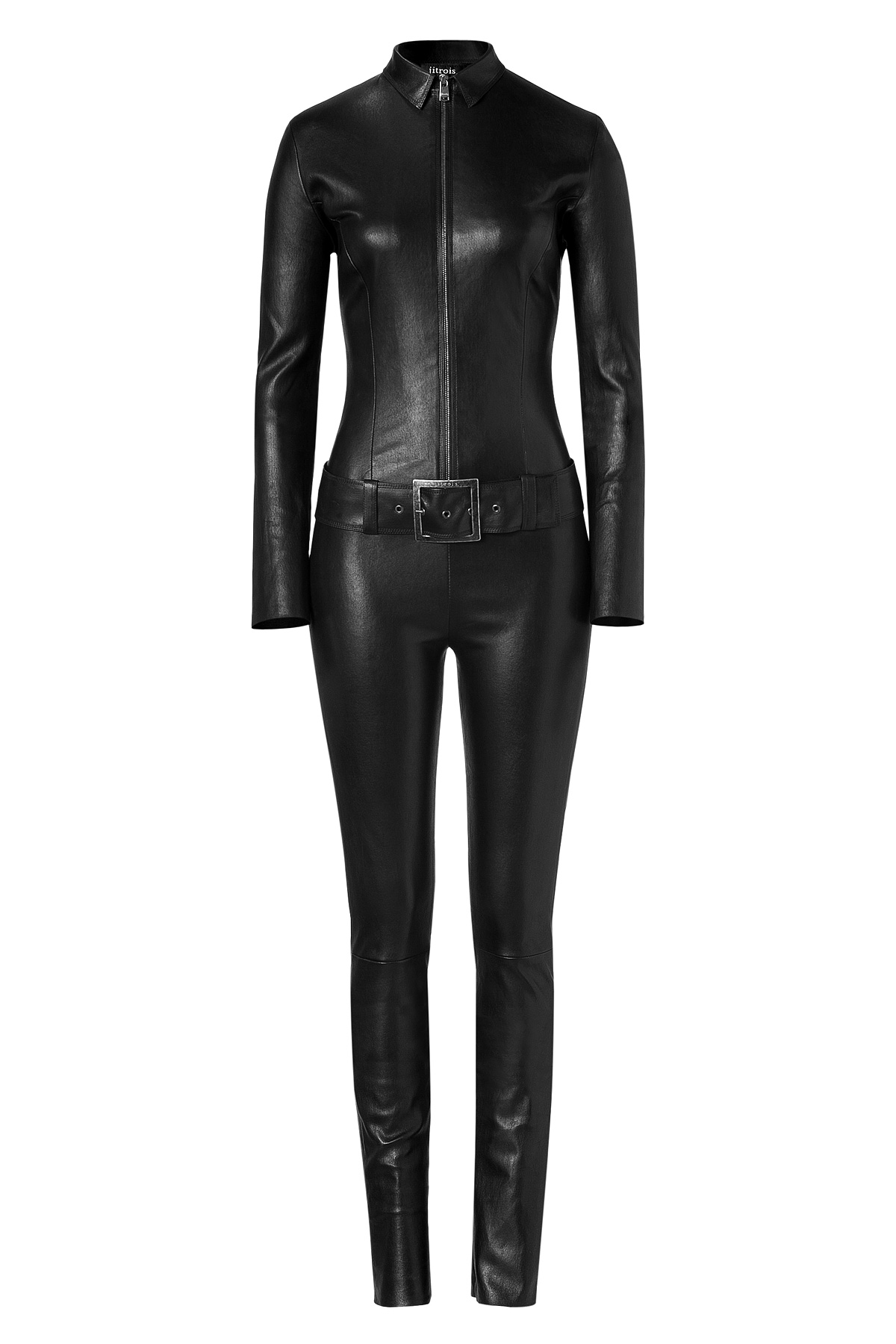 Jitrois Black Leather Belted Kill Jumpsuit In Black Lyst