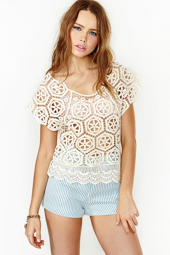 Nasty gal Love Fest Crochet Top in White | Lyst