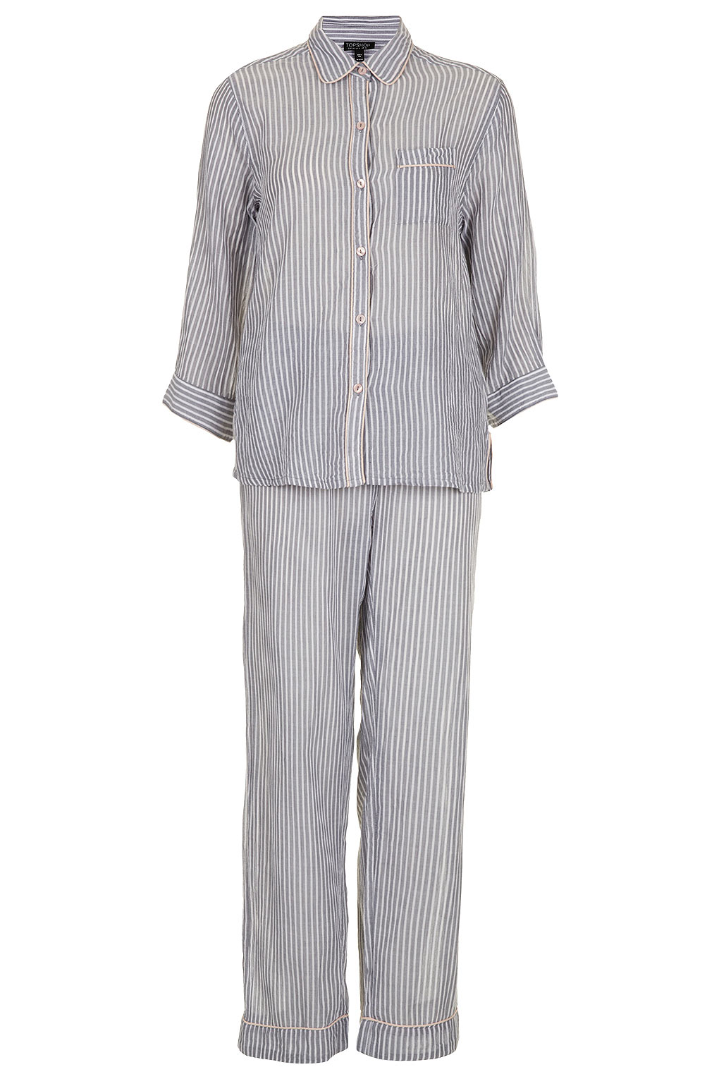 TOPSHOP Striped Piped Pyjama Set in Gray - Lyst f0460c228