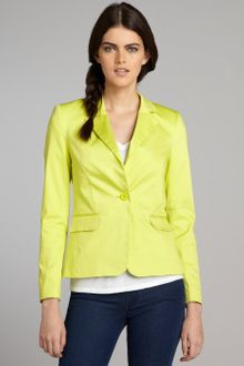 Alice + Olivia Neon Yellow Cotton Blend Onebutton Elyse Blazer - Lyst