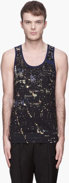 Billtornade Black and Navy Lester Cityscape Tank Top - Lyst