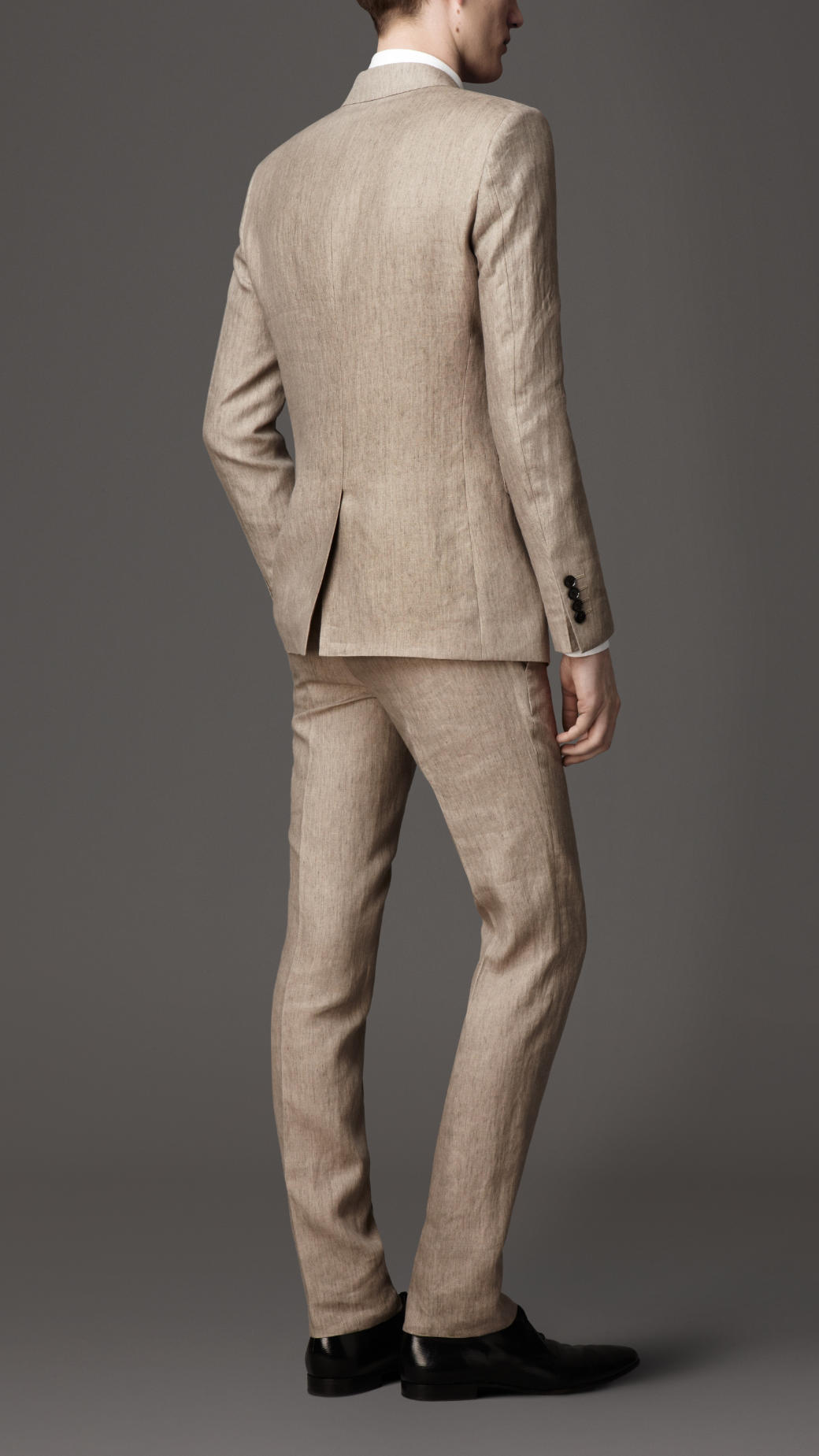 Burberry Slim Fit Linen Suit in Natural for Men | Lyst