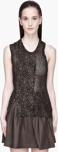 Edun Black and Khaki Speckle Print Mesh Sweater Tank - Lyst